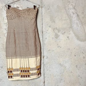 Tracy Reese anthro tribal nude strapless dress